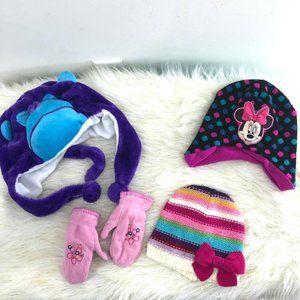 Girls 4 pc bundle Sz 2-4T  winter hats mittens